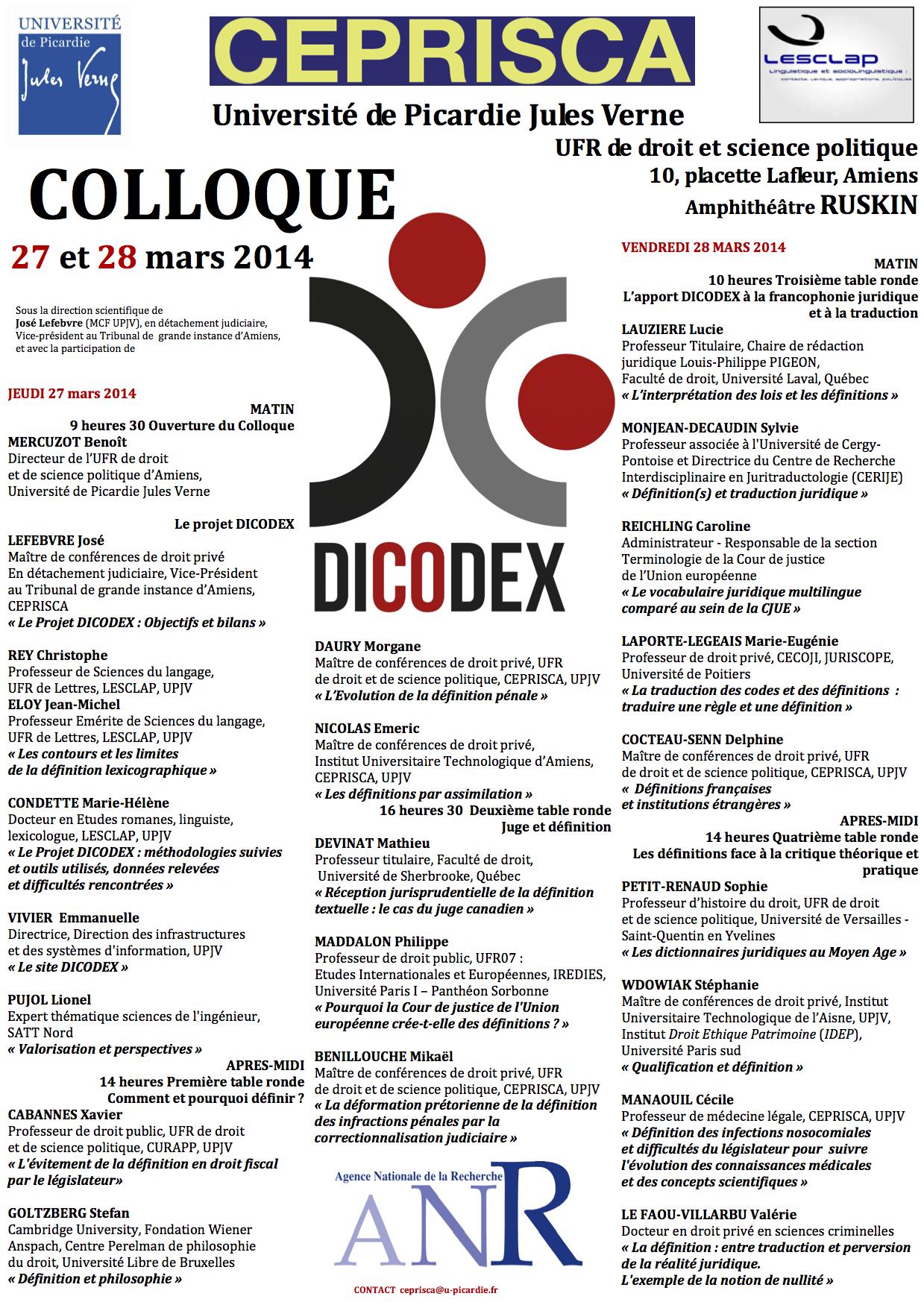 AFFICHE  DICODEX - 27-28 mars  2014 - CEPRISCA