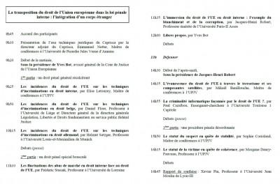 PLAQUETTE FACE La transposition du droit de l'Union européenne dans la loi pénale française(2)